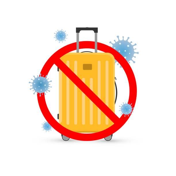 ilustrações de stock, clip art, desenhos animados e ícones de vector cartoon illustration of travel cancellation, forbidden sign on travel bag, coronavirus covid-19 icons. - covid flight
