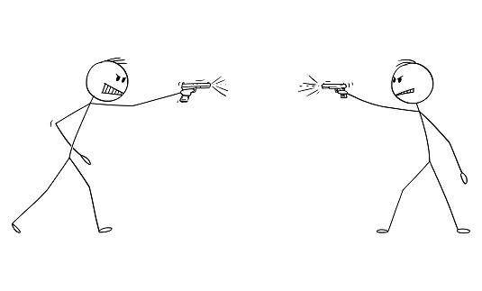 Vector Cartoon Illustration of Two Angry Men Shooting a Gun, Weapon, Pistol or Handgun at Each Other