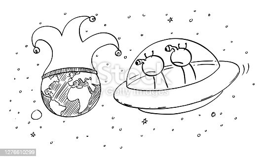 istock Vector Cartoon Illustration of Two Funny Aliens in UFO or Flying Saucer Watching Planet Earth From Space, Mankind or Human Foolishness or Madness 1276610299