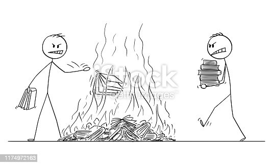 istock Vector Cartoon Illustration of Two Men Throwing Books in Fire, Destruction of Books by Burning. 1174972163