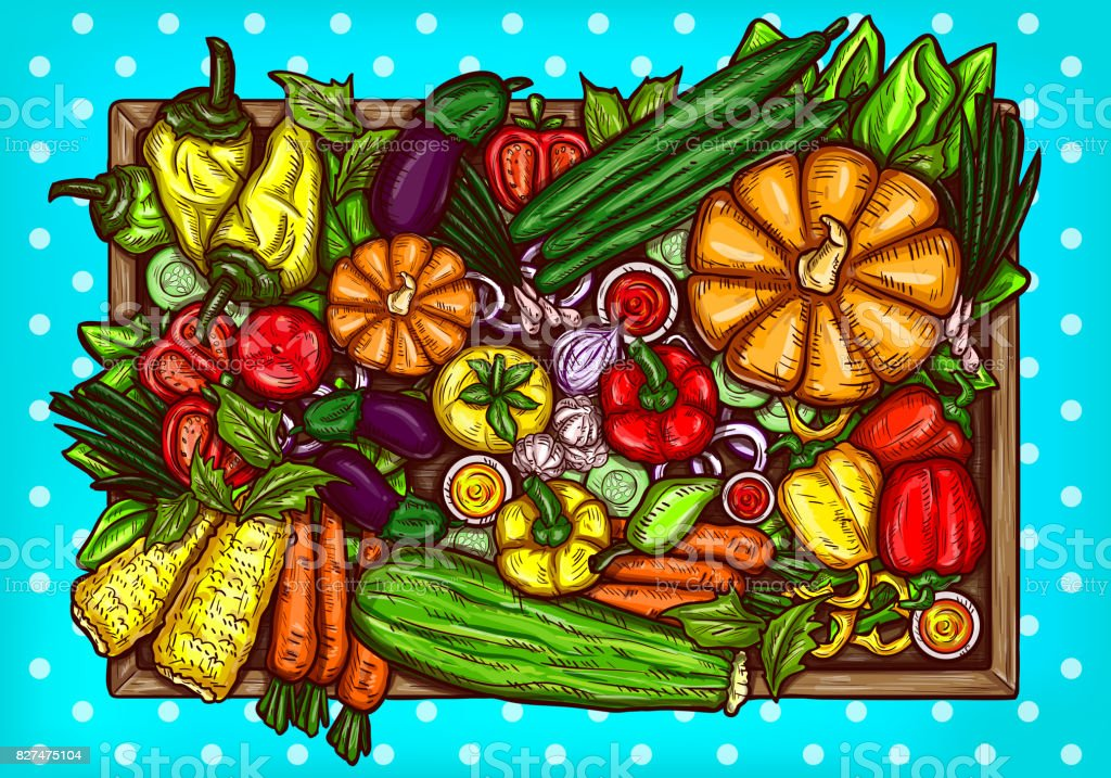 Vector cartoon illustration of various vegetables whole and sliced on a wooden background. vector art illustration
