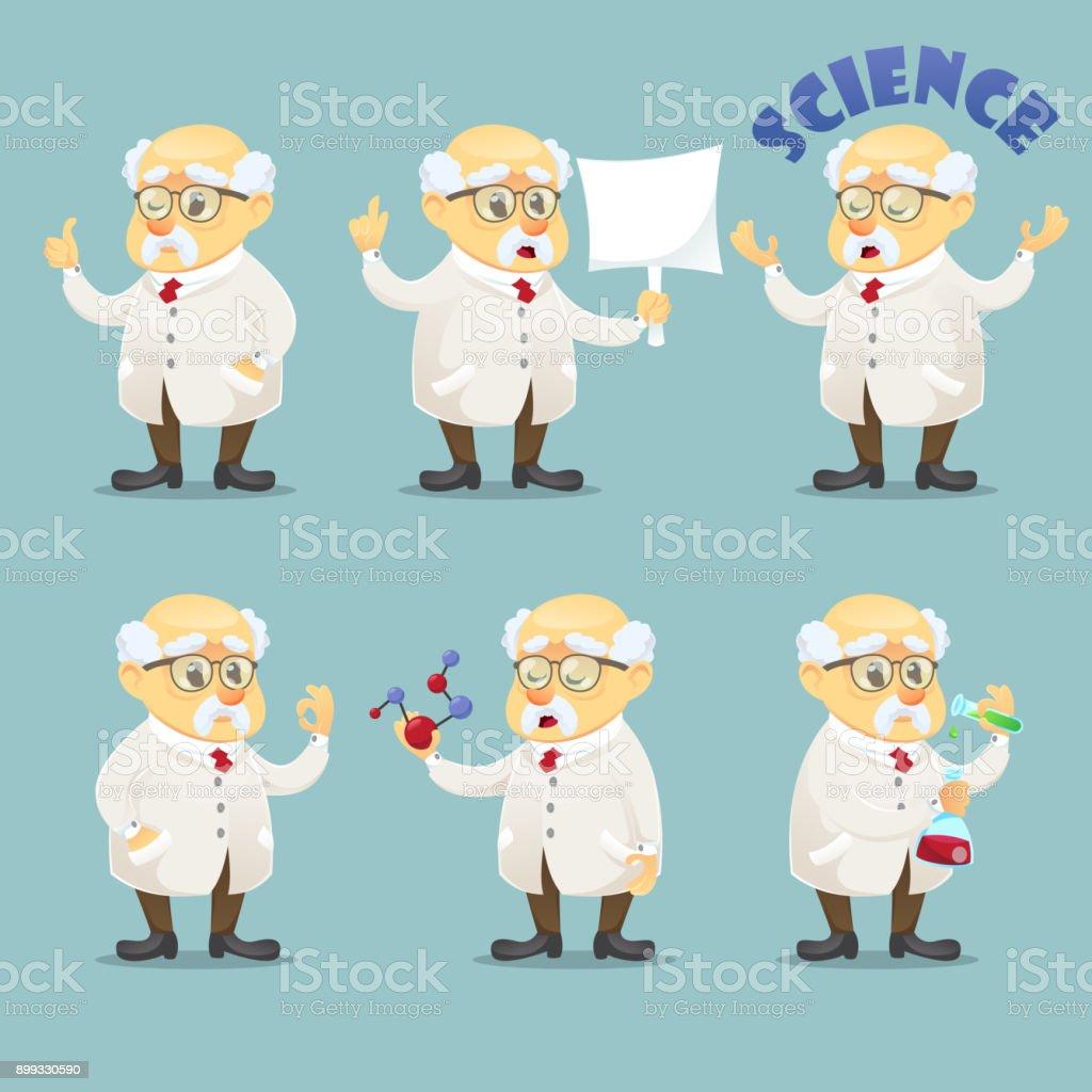 ベクトル漫画イラスト昔面白い科学者キャラクター ポーズ Eps10 のメガネ