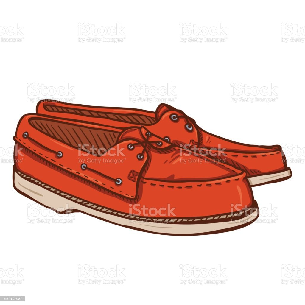Vector Cartoon Illustration - Pair of Topsider Men Shoes vector art illustration