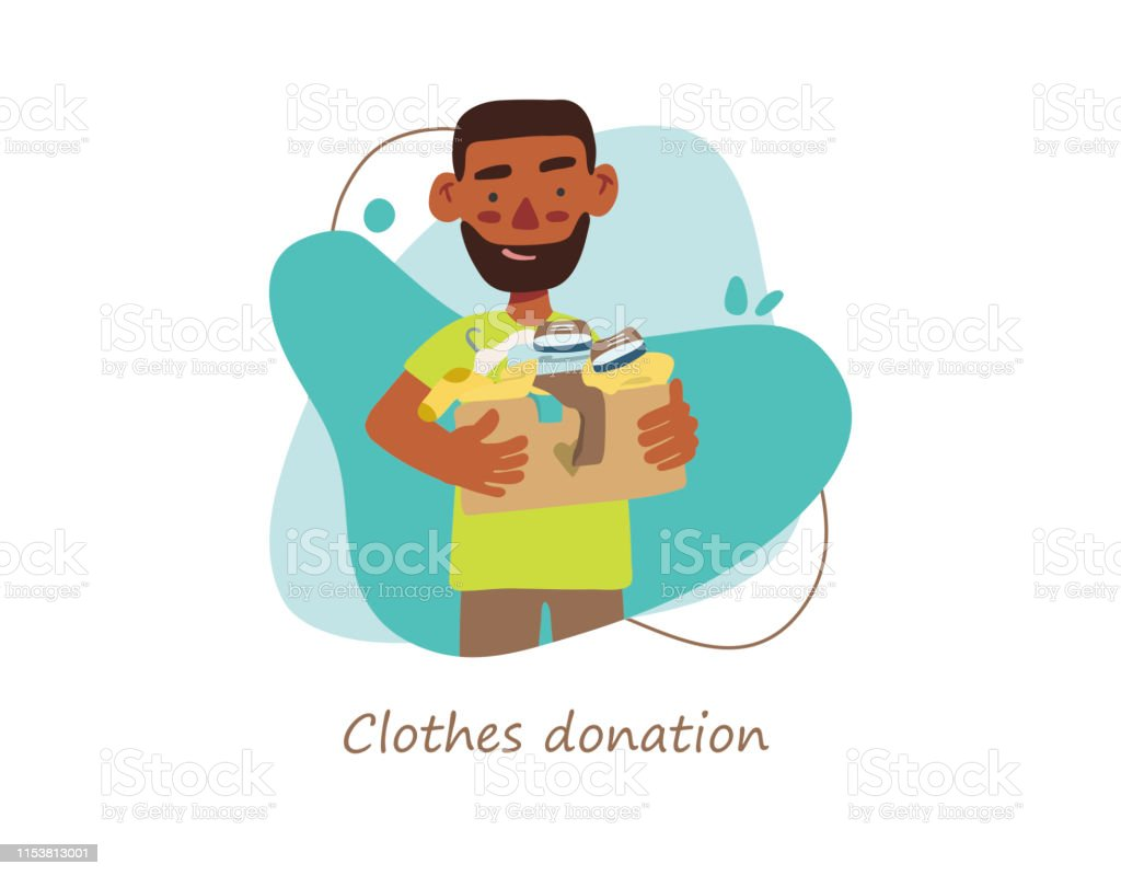 Vektorszene Mit Einem Jungen Der Waren Für Wohltätige Zwecke