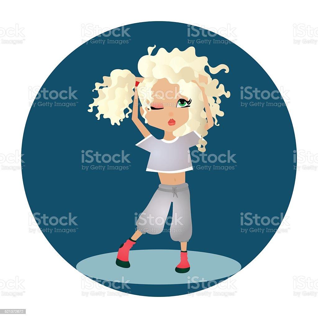 Vector de ilustración de dibujos animados de historieta con una chica rubia - ilustración de arte vectorial