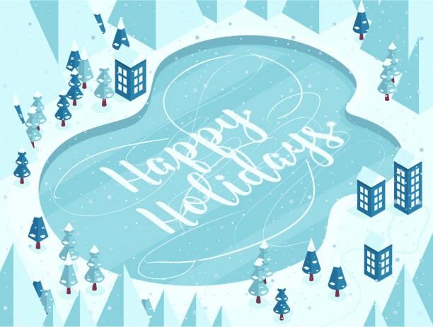 ベクトル漫画イラスト冷凍湖、家、道、松、丘、雪に覆われた山に雪し、は手の幸せな休日のレタリングします。 - 森林 俯瞰点のイラスト素材/クリップアート素材/マンガ素材/アイコン素材