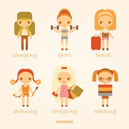 vector cartoon illustrations of hobbies