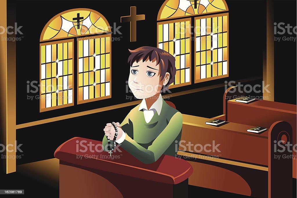 Vector cartoon image of a Christian at church praying vector art illustration