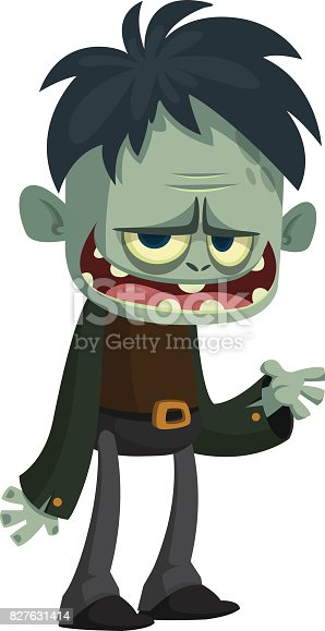 istock Vector cartoon image of a funny green zombie business suit 827631414