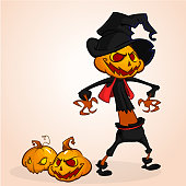 Vector cartoon image of Jack O' Lantern with orange pumpkin head, in a dark coat and witch hat standing white background. Halloween. Vector illustration.