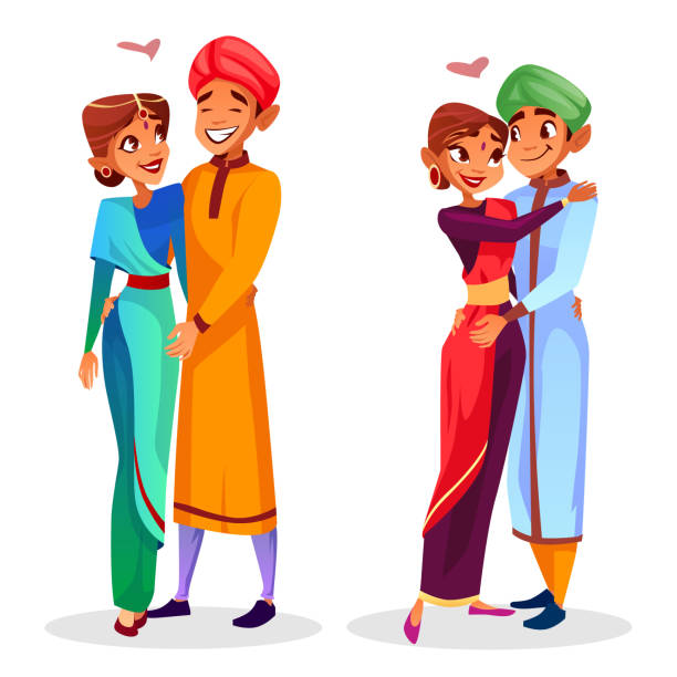 Vector cartoon indian couples hugging Vector cartoon indian couples hugging expressing love, togetherness set. Happy men, women in ethnic clothing standing together smiling. Husbands and wifes in national costumes dating. indian family stock illustrations