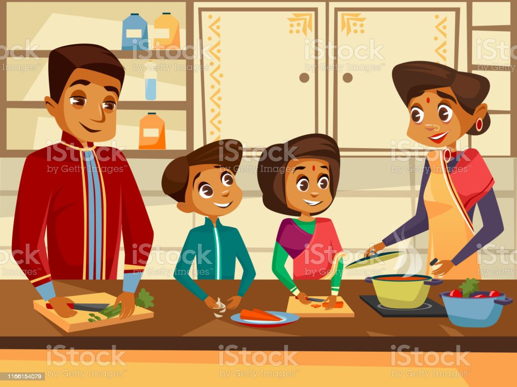 Vector Cartoon Indian Family At Kitchen Concept Stock Illustration Download Image Now Istock