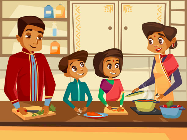 Vector cartoon indian family at kitchen concept Vector cartoon Indian family characters cooking at kitchen together concept. Happy hindu man, woman parent father mother boy girl children preparing vegetables meal. Kitchen interior background indian family stock illustrations