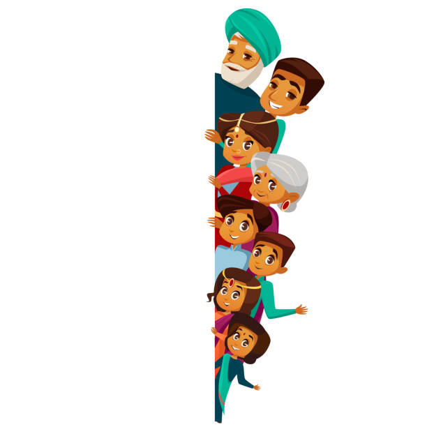 Vector cartoon indian family peeping empty space Vector cartoon Indian family characters peeping empty blank space. White paper poster background template. hindu senior man, woman, parents, father mother teen boy, girl kid in national costume indian family stock illustrations