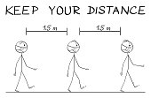 Vector cartoon stick figure drawing instructional illustration how to walk on street during coronavirus COVID-19 epidemic. Keep your distance text.