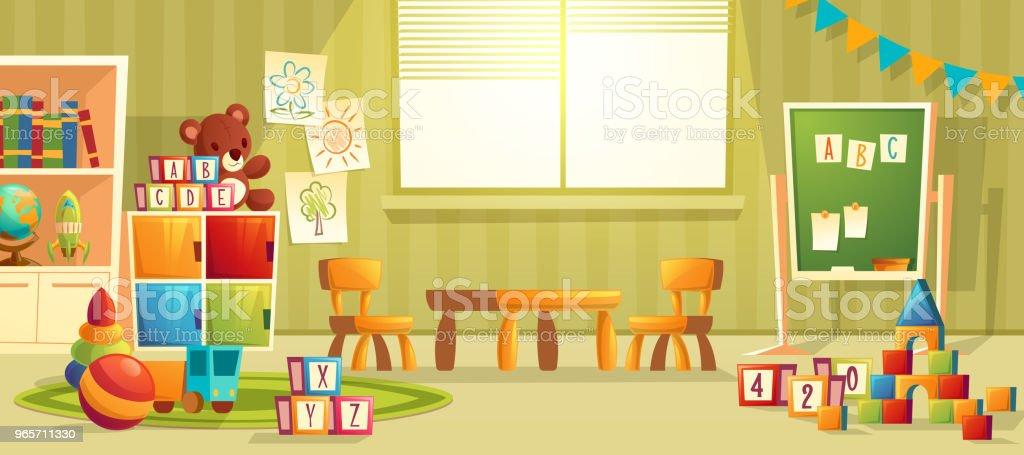 Vector cartoon interior of kindergarten room vector art illustration