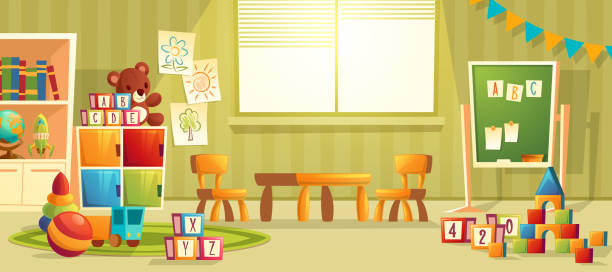 vector cartoon interior of kindergarten room - przedszkole stock illustrations