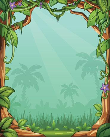 Vector Cartoon Jungle Background With Vines and Palm Trees