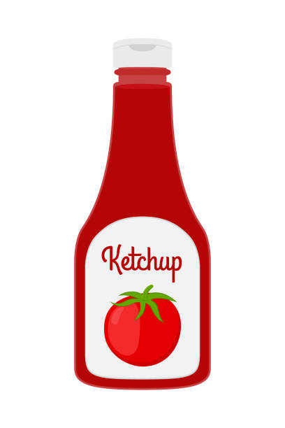 Vector cartoon ketchup bottle. Red tomato sauce, condiment, plastic bottle Vector ketchup bottle in cartoon style. Red tomato sauce, condiment in transparent glass, plastic bottle ketchup stock illustrations