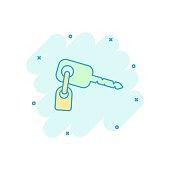 Vector cartoon key icon in comic style. Secret keyword sign illustration pictogram. Key business splash effect concept.