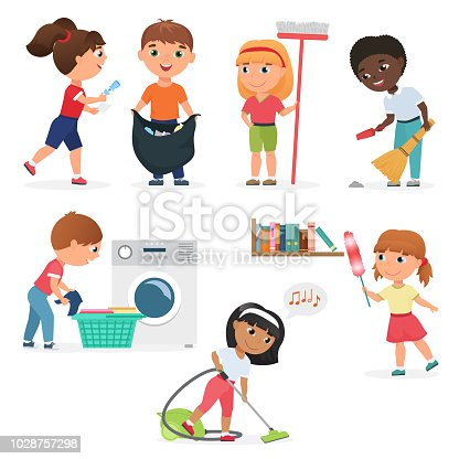 Vector Cartoon kids cleaning at home set. Children in various cleaning positions