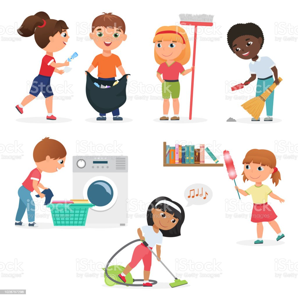 Vector Cartoon kids cleaning at home set. Children in various cleaning positions. vector art illustration