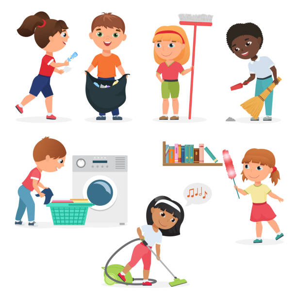 ilustraciones, imágenes clip art, dibujos animados e iconos de stock de los niños de dibujos animados vector de limpieza en casa sistema. niños en varias posiciones de limpieza. - tareas domésticas