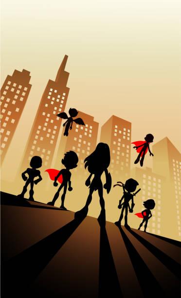 Vektor Cartoon Kinder Superhelden Team Silhouette – Vektorgrafik