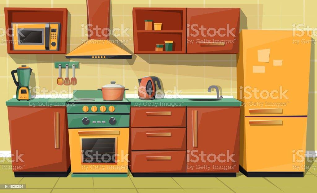 Ilustración de Mostrador De La Cocina De Dibujos Animados Del Vector ...