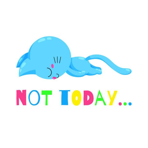 illustrations, cliparts, dessins animés et icônes de chaton de vecteur caricature fatigué. chat drôle doodle. modèle pour la conception d'impression, - emoji paresseux