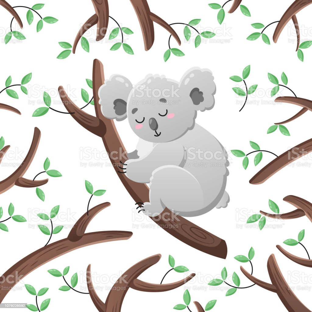 Vector Cartoon Koala Among The Leaves And Branches Doodle