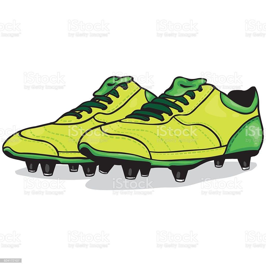 Vector Cartoon Light Green Soccer Boots vector art illustration