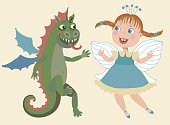 vector cartoon little flying dragon and fairy tale cute pixie girl isolated on a beige  background. Funny small beast animal and princess sticker figures for kids, children tee shirt print