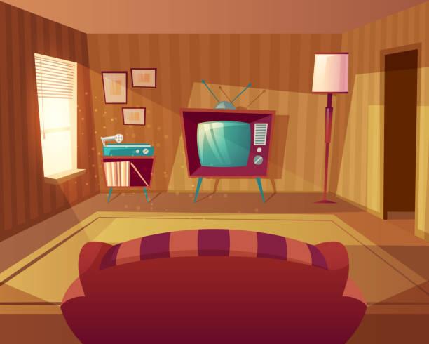 ilustrações de stock, clip art, desenhos animados e ícones de vector cartoon living room with sofa, tv - living room background