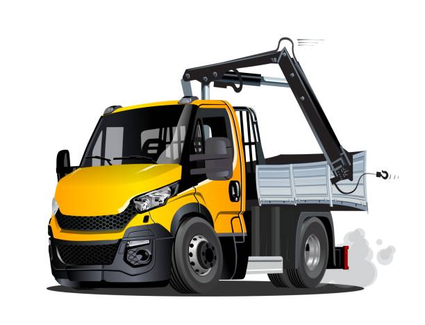 Vector Cartoon Lkw Truck with Crane isolated Vector Cartoon Lkw Truck with Crane. Available eps-10 vector format separated by groups and layers for easy edit lkw stock illustrations