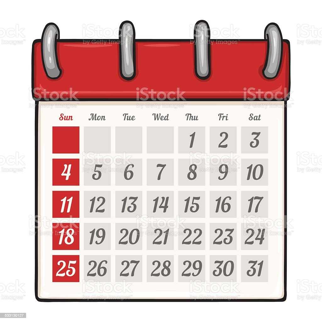 Vektor-Comic losen Kalender – Vektorgrafik