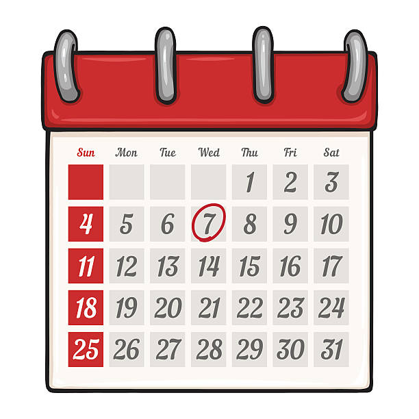 Vektor-Comic losen Kalender mit roten Kreis Mark – Vektorgrafik