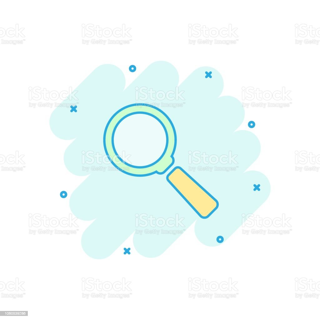 Vector Cartoon Magnifying Glass Icon In Comic Style Search