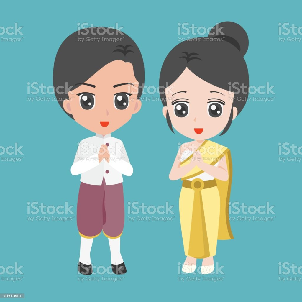 52d71f6bb Vector cartoon male and female dress in thai traditional costume royalty- free vector cartoon male