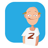 Vector cartoon man with a bald head in a t-shirt. Copy space text.