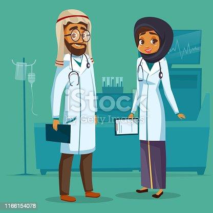 Vector cartoon muslim arab khaliji male female doctor nurse. Surgeon man physician specialist woman uniform hijab stethoscope. Illustration healthcare professional people clinic hospital background