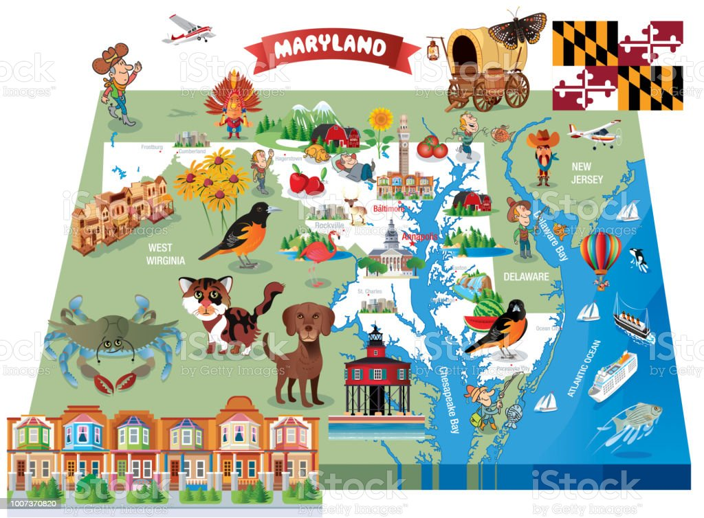 Vector Cartoon map of MARYLAND vector art illustration