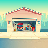 Vector cartoon mechanic workshop with car. Repairing or fixing vehicle in garage. Storeroom with furniture, tools, parts and details. Automobile service near with the road, urban business