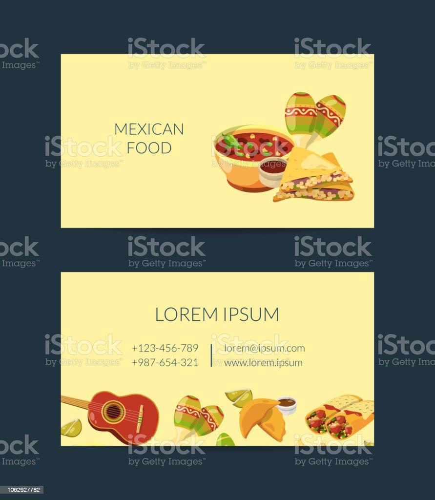 Vector Cartoon Mexikanisches Essen Visitenkarte Vorlage Für