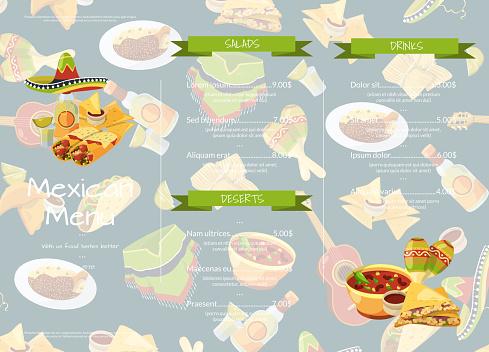 Vector cartoon mexican food cafe or restaurant menu template illustration