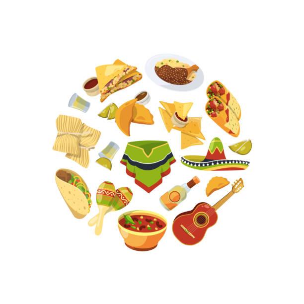 vector cartoon mexican food in circle shape illustration - mexican food stock illustrations, clip art, cartoons, & icons