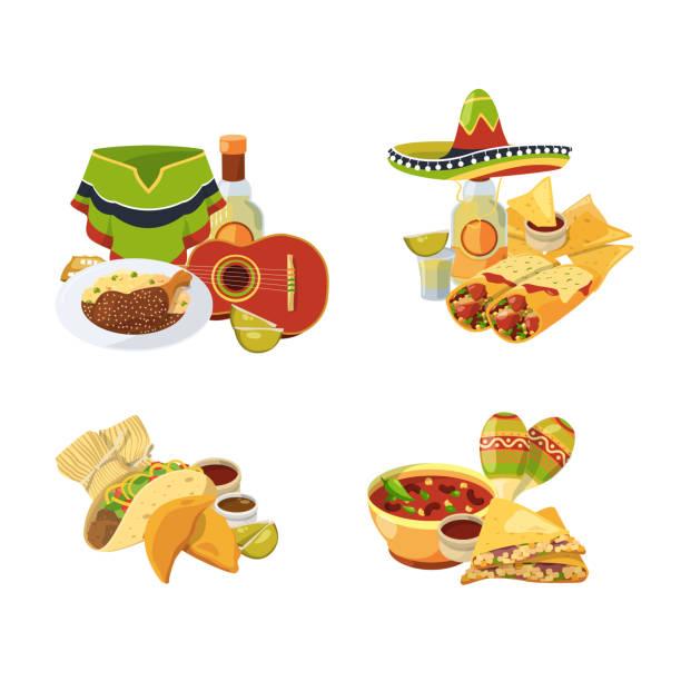 vector cartoon-mexikanisches essen haufen satz isoliert auf weißem hintergrund illustration - tortillas stock-grafiken, -clipart, -cartoons und -symbole