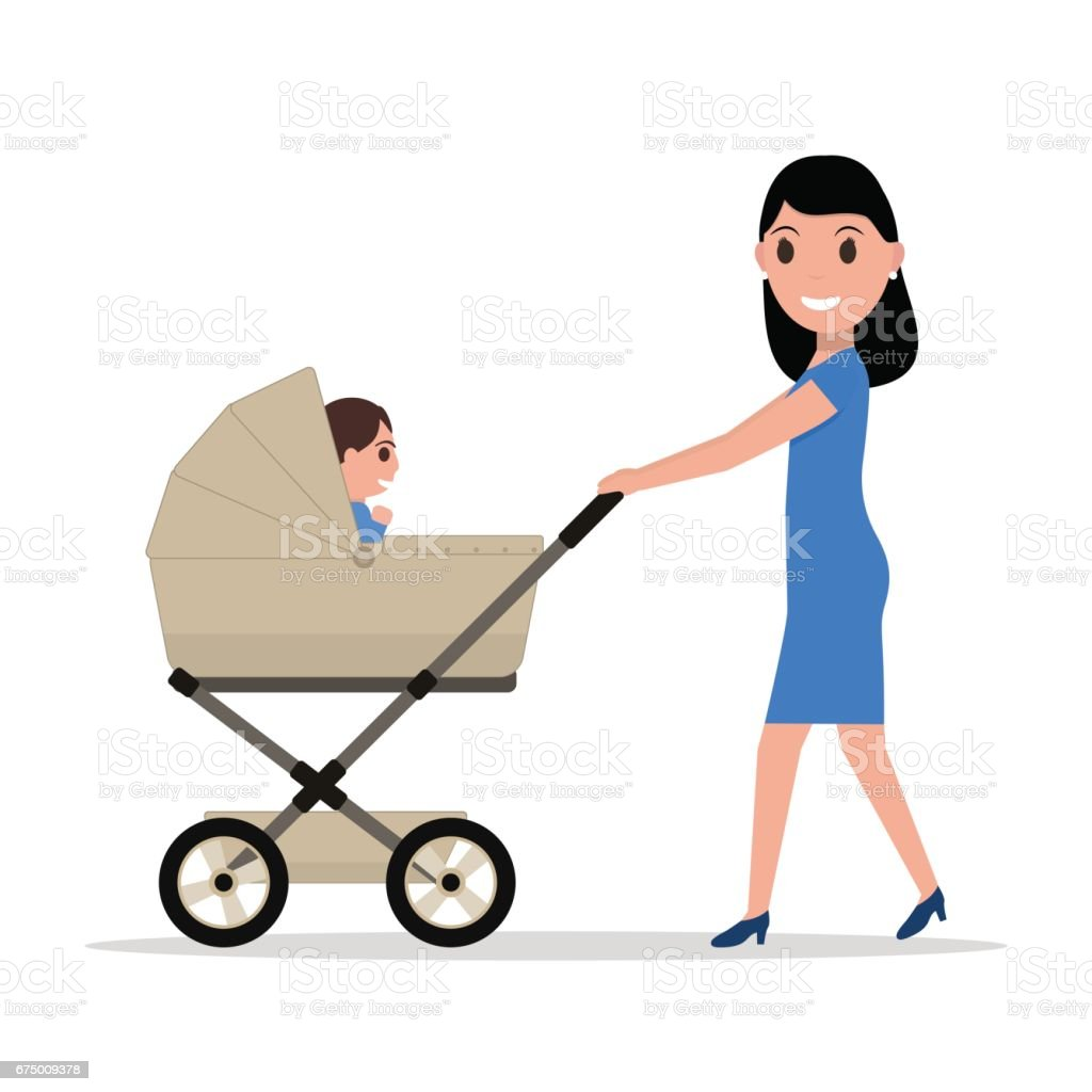 Vector cartoon mother riding a child baby carriage vector art illustration