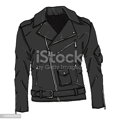 Vector Cartoon Black Leather Jacket. Biker Style Outfit