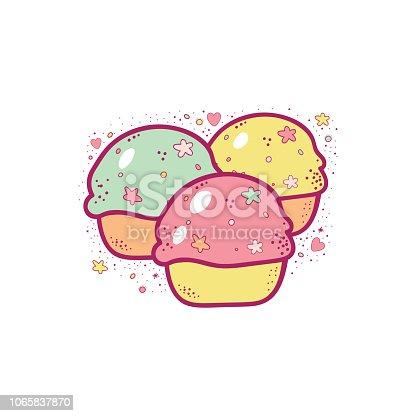 Vector cartoon multicolor cupcakes